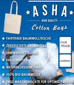 Fairtrade Baumwolltasche | lange Henkel