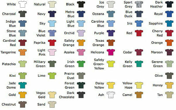 Ansicht lieferbarer Farben des T-Shirts Gildan Ultra-T