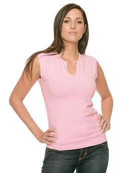Cotton Spandex Slit-V Raglan T-Shirt