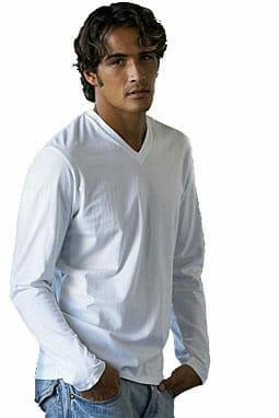 Fesches Langarm-Shirt V-Neck Kariban® K346