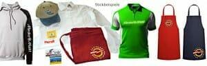 Stickbeispiele auf Hemden, Polos, Kappen, Abzeichen