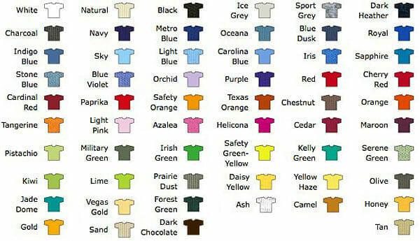 Farbauswahl T-Shirt GILDAN Ultra
