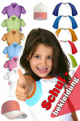 Schulbekleidung mit Druck oder Bestickung