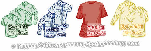 Druck auf T-Shirts, Polos, Hemden und Swetaer