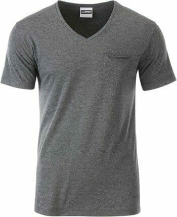 JN 8004 mV-Kragen T-Shirt aus 100% Bio-Baumwolle