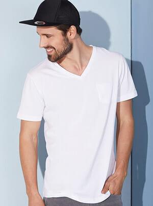 JN 8004 V-neck Herren T-Shirt mit Brusttasche aus 100% Bio-Baumwolle
